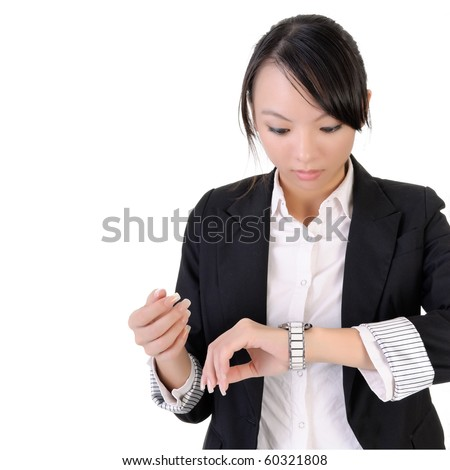 Business woman check time with surprised expression against white background. - stock photo