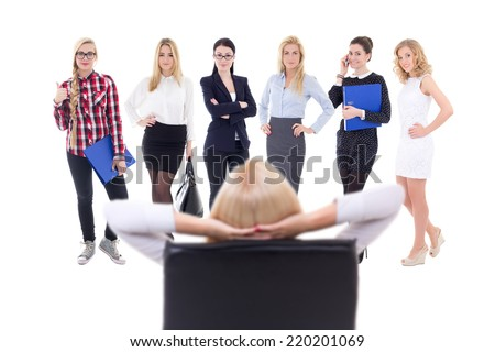 business woman choosing new workers isolated on white background - stock photo