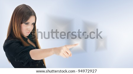 Business woman click button on touchscreen interface. - stock photo