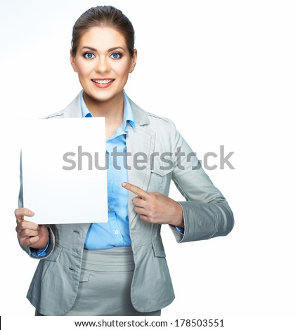 Business woman corporate suit dressed show blank sign board. Young smiling model. Isolated white.