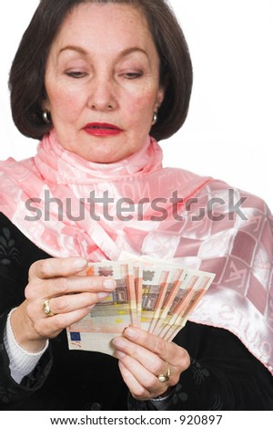business woman counting Euros