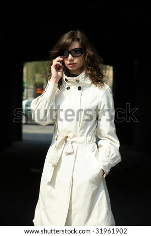 Business woman decides to call the question - stock photo