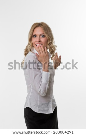 Business woman delighted by the success. Cute girl in business attire. Lady surprise. - stock photo