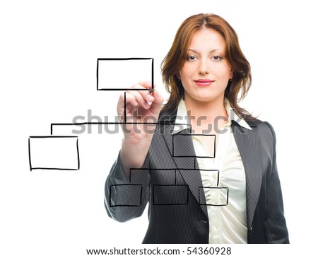 Business woman designing a plan on screen - stock photo