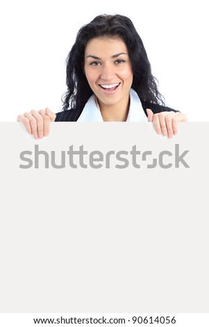 business woman displaying a banner add isolated over a white background