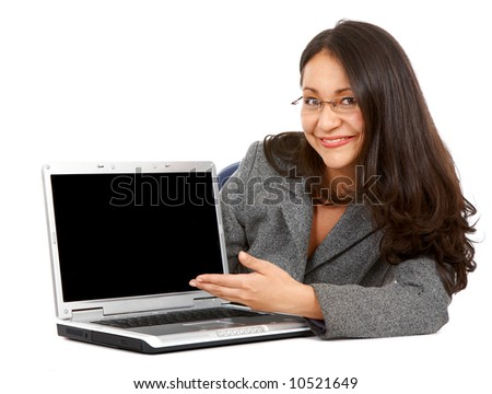 Business woman displaying a laptop computer - isolated over a white background - stock photo