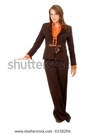 business woman displaying your product isolated over a white background