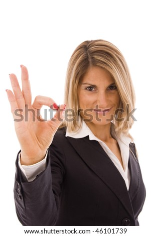 Business woman doing OK sign isolated on white - stock photo