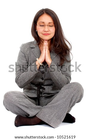 business woman doing yoga isolated over a white background - stock photo