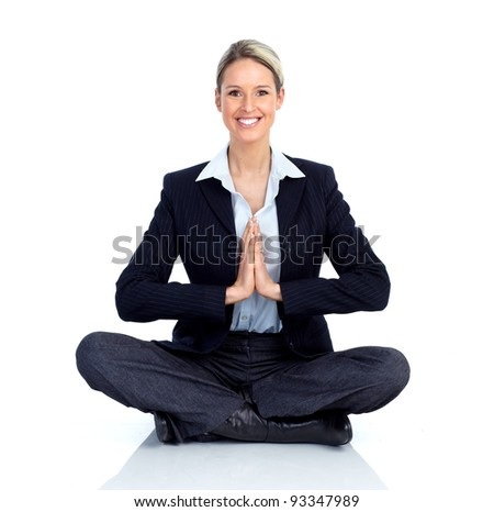 Business woman doing yoga. Isolated over white background - stock photo