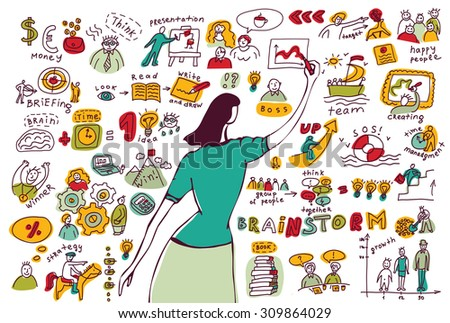 Business woman doodles presentation isolate white. Young businesswomen drawing graph. Ink hand drawn color  illustration.  - stock photo