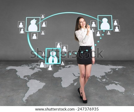 Business woman draw an icons, a global business - stock photo