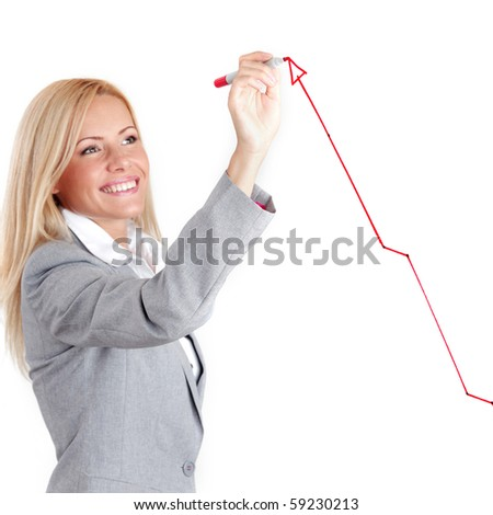 business woman draw arrow - stock photo