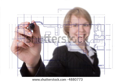 business woman draw graph over white - stock photo