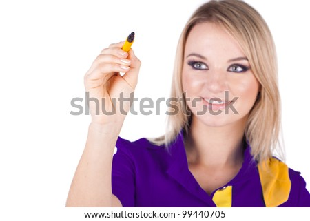 business woman drawing a blank isolated over a white - stock photo