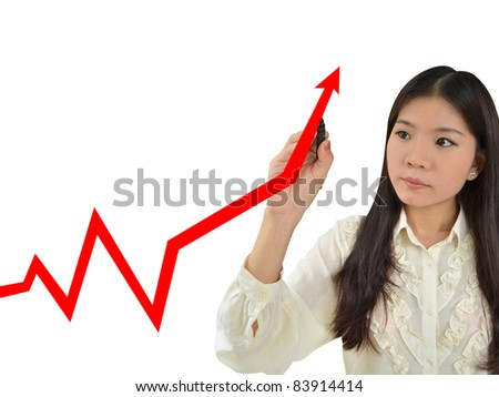 Business woman drawing a graph showing growth of business