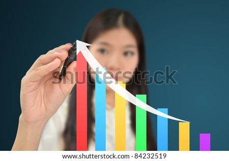 Business woman drawing a graph showing growth of business - stock photo
