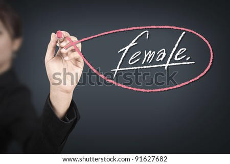 Business woman drawing female ( lipstick concept ) - stock photo
