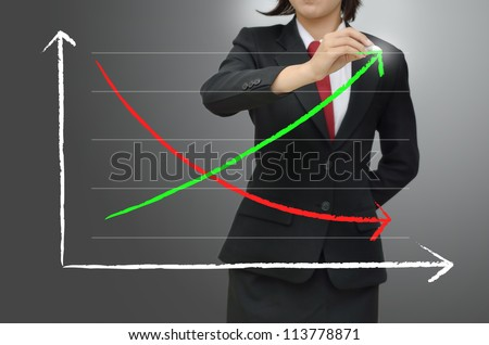 Business woman drawing growing green graph - stock photo
