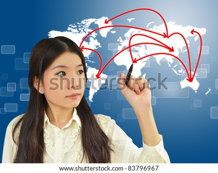 Business woman drawing network on world map - stock photo