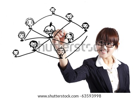 business woman drawing social network Relationship diagram - stock photo