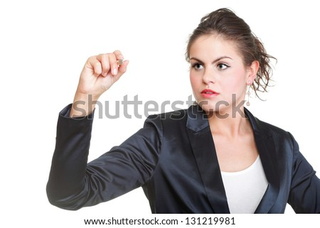 Business woman drawing something on screen with a pen - isolated over a white background