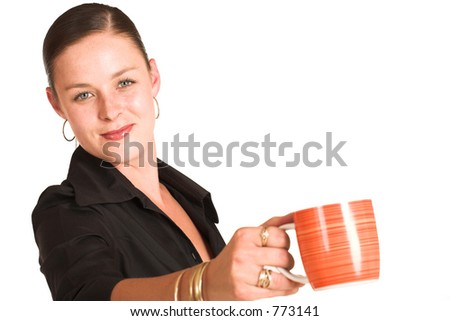Business woman dressed in a black shirt.  Holding coffee mug. Shallow DOF - mug out of focus, face in focus. - stock photo