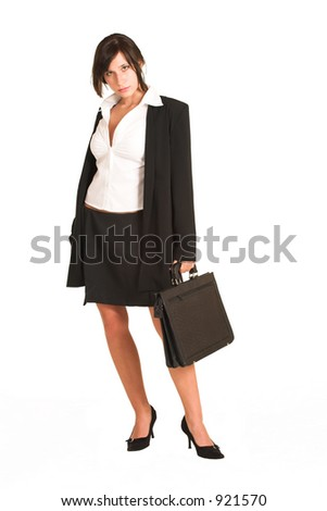 Business woman dressed in a pencil skirt and jacket. Holding a black leather suitcase.