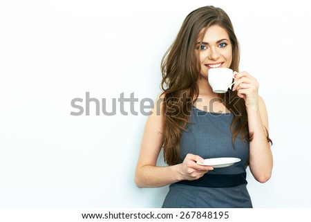 Business woman drink coffee, hold white coffee cup. Business dress code. White background. Isolated. - stock photo