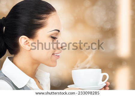 business woman drink smell coffee hold cup, happy smile businesswoman over brown background