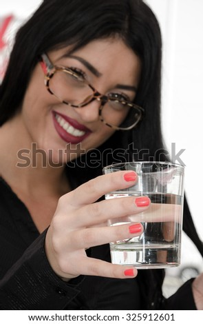 business woman drinking water close up - stock photo