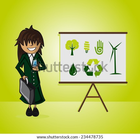 Business woman ecology presentation on whiteboard and environment icons - stock photo