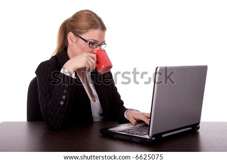 Business woman enjoy in coffee and work by laptop. - stock photo