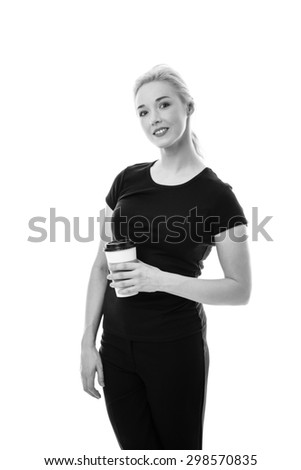 business woman enjoying her morning cup of coffee - stock photo