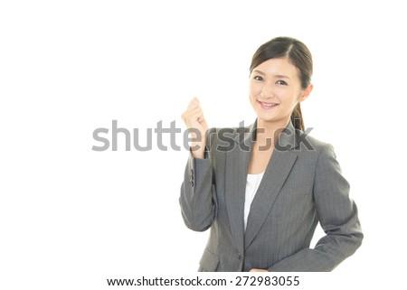 Business woman enjoying success - stock photo