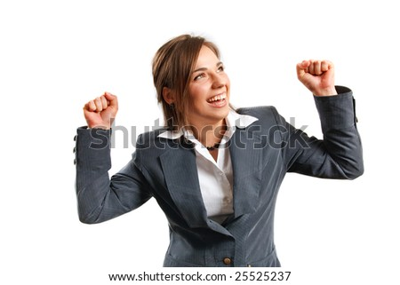 Business woman enjoys her success. - stock photo