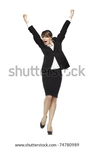 business woman excited. see more on my page - stock photo