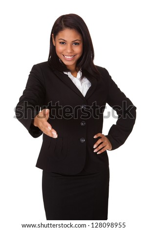 Business Woman Extending Her Hand To Handshake. Isolated On White - stock photo