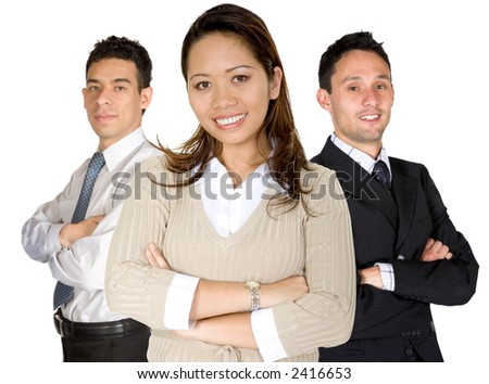 business woman facing the camera in a brown blouse with her team behind over white - stock photo