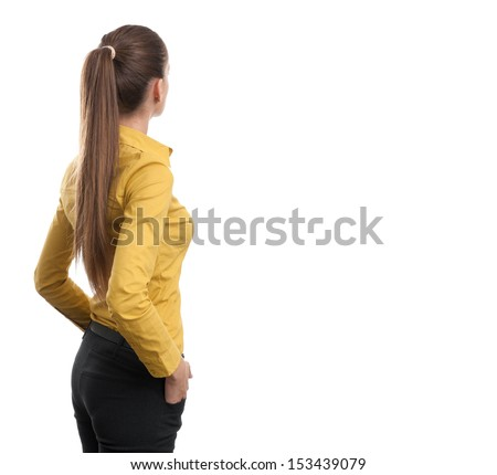 Business woman from the back looking at something. isolated on white background - stock photo