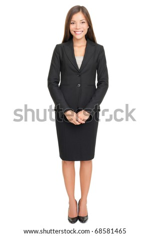 Business woman full body standing isolated on white background with copy space. - stock photo