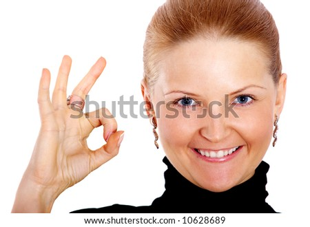 business woman full of success doing the ok sign with her hand isolated over a white background - stock photo