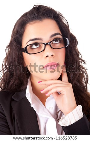 Business woman full of thoughts, isolated on white - stock photo
