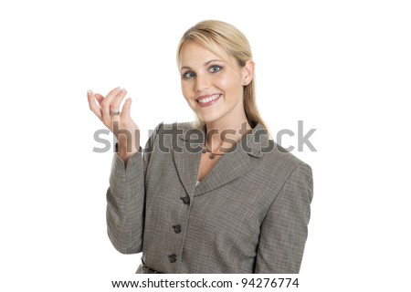 Business woman gesturing isolated on white - stock photo