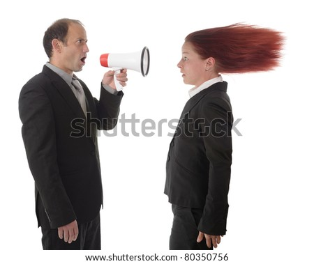business woman getting an hard announcement by the boss - stock photo