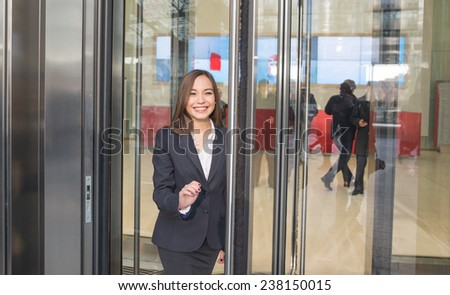business woman getting out the offices - stock photo