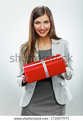 Business woman gift. White background isolated - stock photo