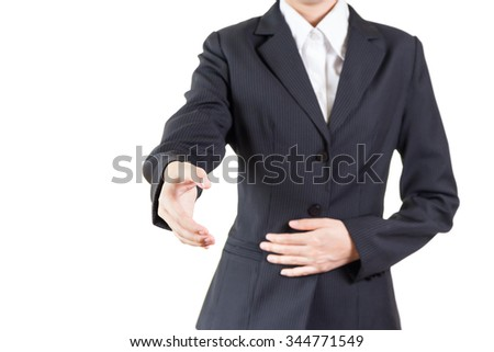 business woman giving a handshake isolated on white background
