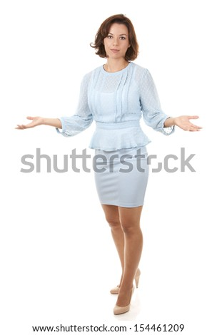 business woman giving bad news on white isolated background