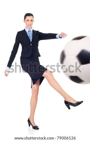 business woman giving goal, business success concept, isolate on white background - stock photo
